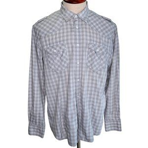 INC XL Western Style Dress Shirt Blue Gray Plaid